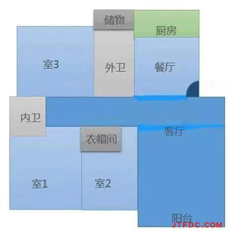 新城东苑一期,多层纯3楼,140平,车库10平,3室2厅2卫,两房朝南客厅朝南,