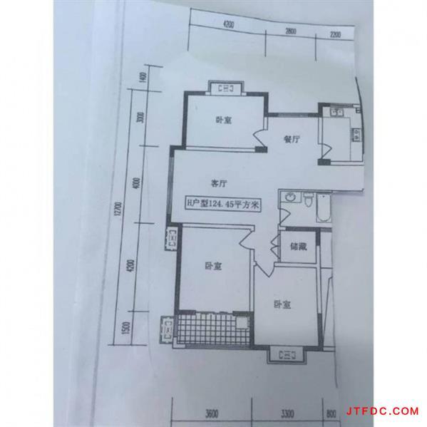 金田花园电梯三楼,边户,128平,车库9平,3室2厅1卫一衣帽间,毛坯,楼间距大