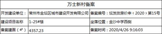 万士新村(1-25#号楼)房价重新备案公示