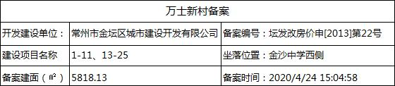 万士新村(1-11、13-25号楼)房价备案公示